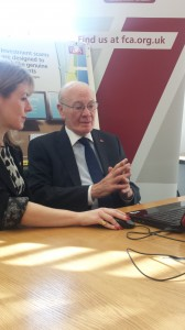 Sir Menzies Campbell with the FCA's Head of Consumer Communications Emma Stranack at the launch of 'Scam Smart' in Westminster